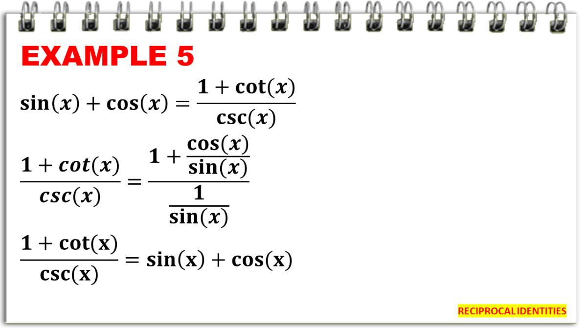 Proving Identities Using Reciprocal Formulas