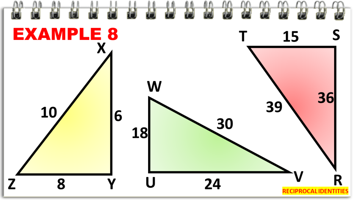 Obtaining Values of Cosecant, Secant, and Cotangent Using the Triangle Illustrations