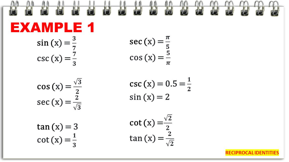 Finding Trigonometric Function Values Using the Reciprocal Identities