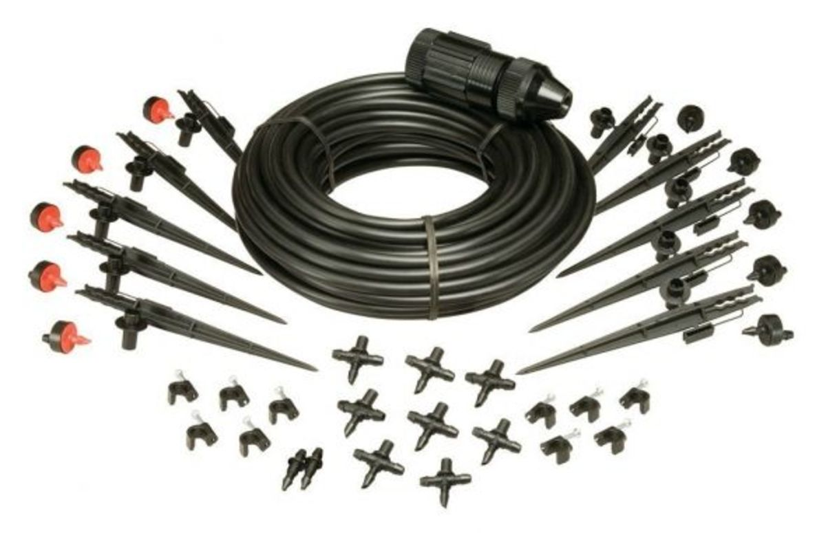 The Rain Bird Drip System Components. This handy kit contains every thing needed to run a drip system through a small garden. Accessorize as needed to include a larger area. This kit will deliver water to up to ten plantings.