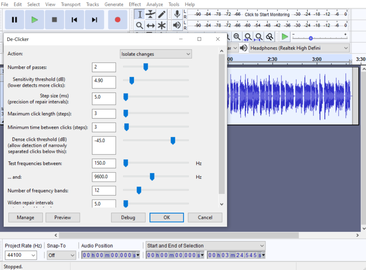 The De-Clicker is a free Nyquist plugin that can be used to remove clicks and other mouth noises in Audacity