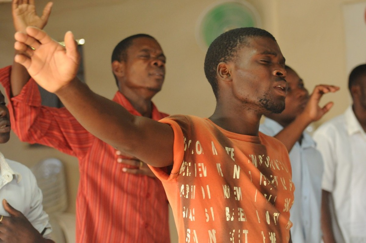 Lifting hands in worship service