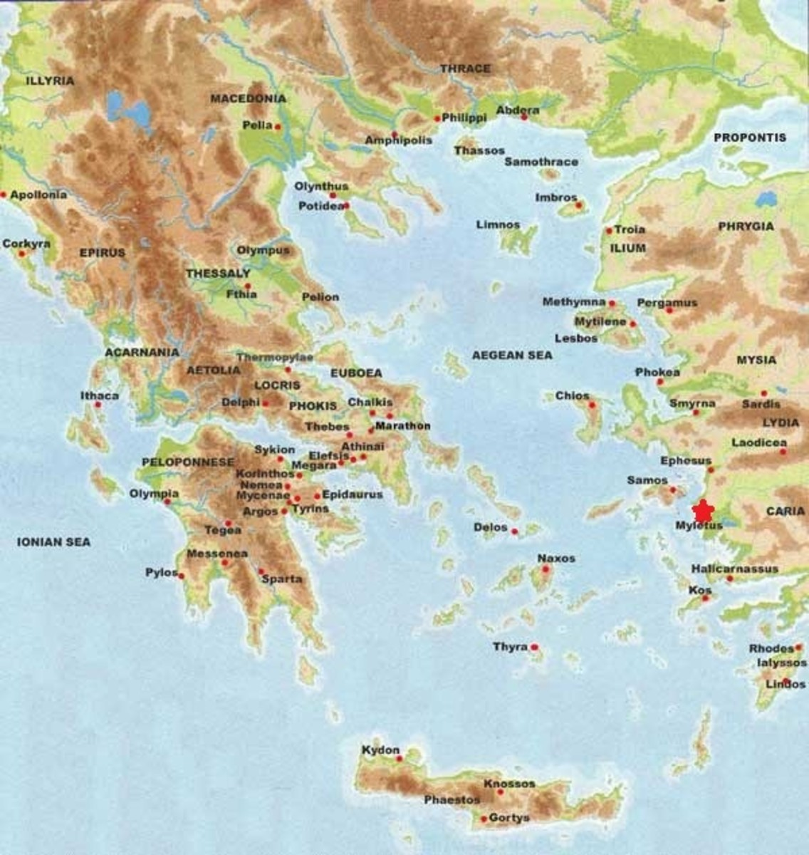 Map of ancient Greece showing Miletus (Myletus) on the western coast of modern-day Turkey.