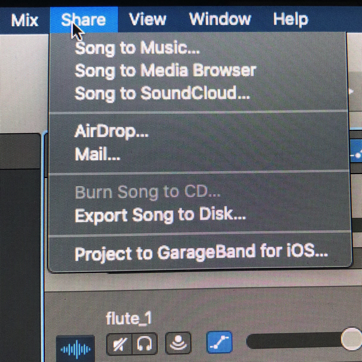 Share menu:  Export Song to Disk