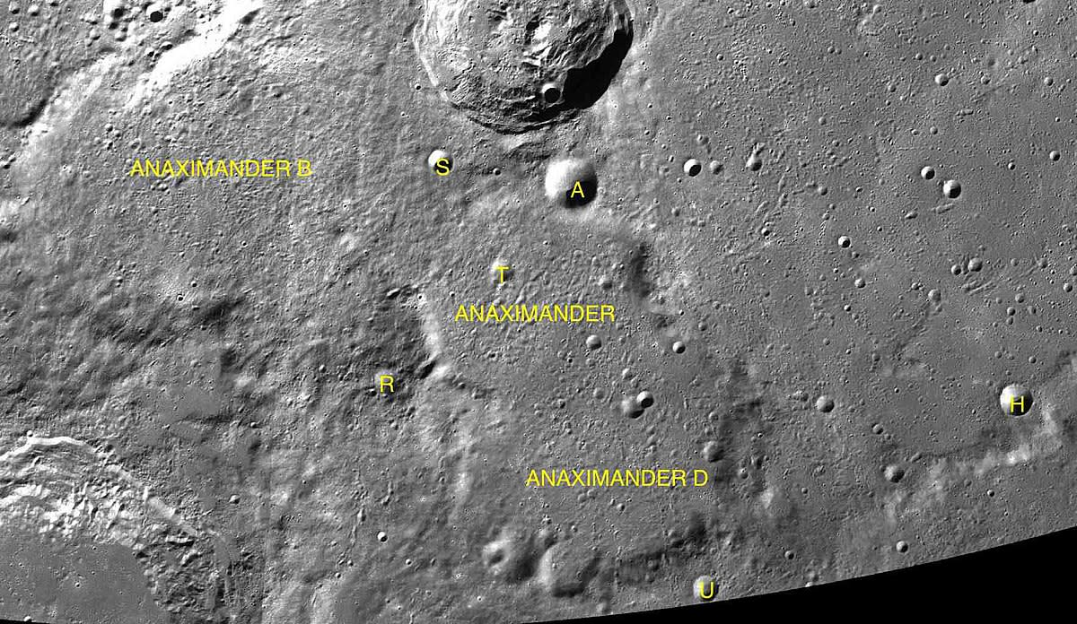 A lunar impact crater located near the northwest limb of the moon named after Anaximander.