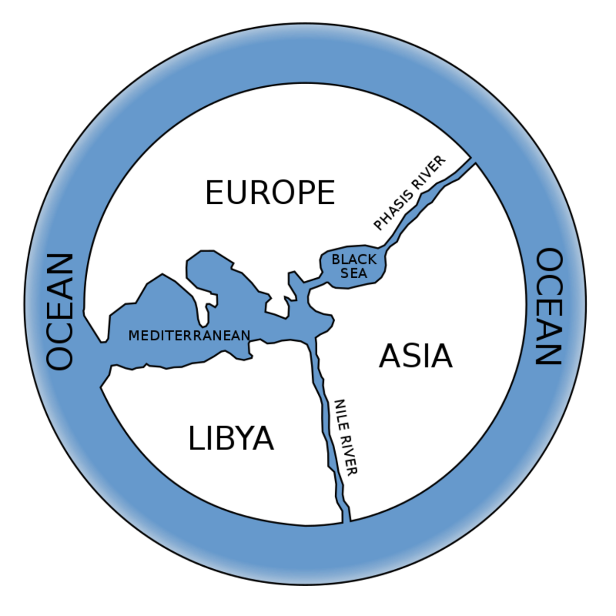 A modern reconstruction of Anaximander's map of the world.