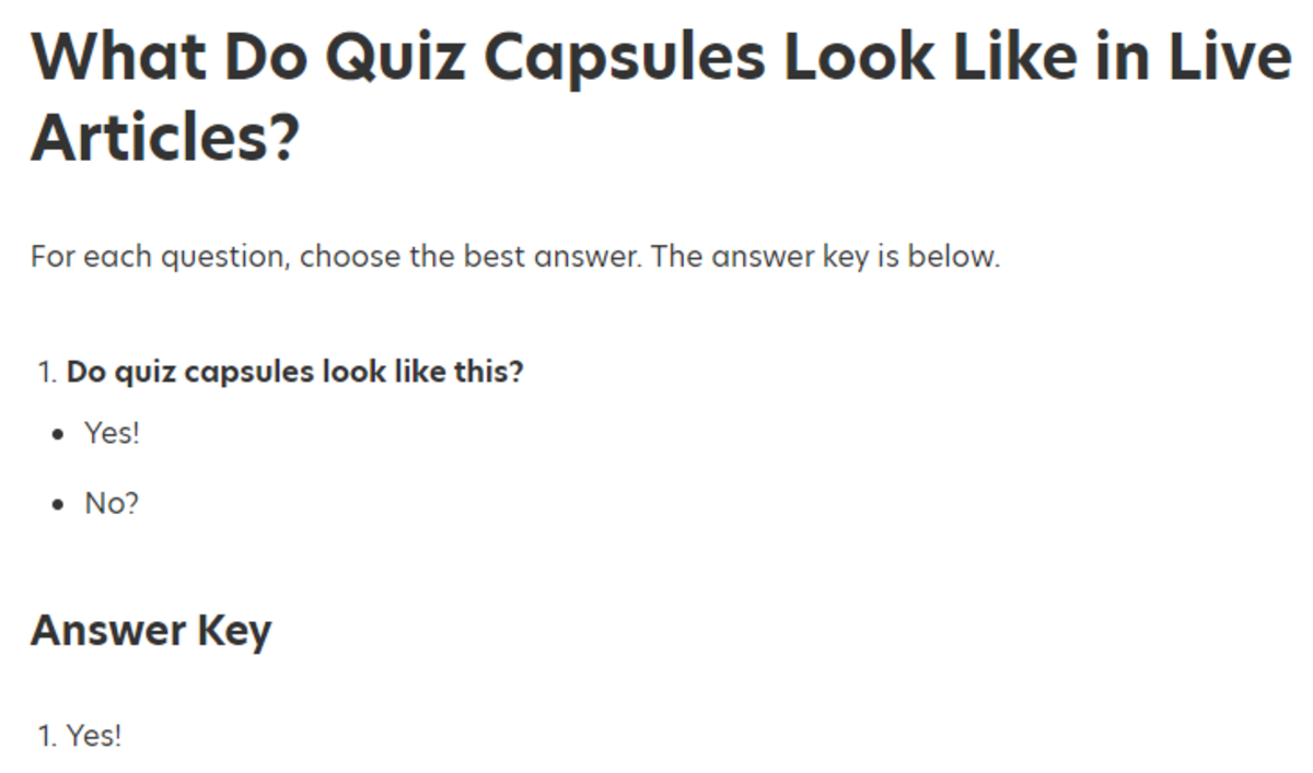 "This is what a Quiz Capsule looks like in a live article when you choose ""Option 1"" (only one correct answer)."
