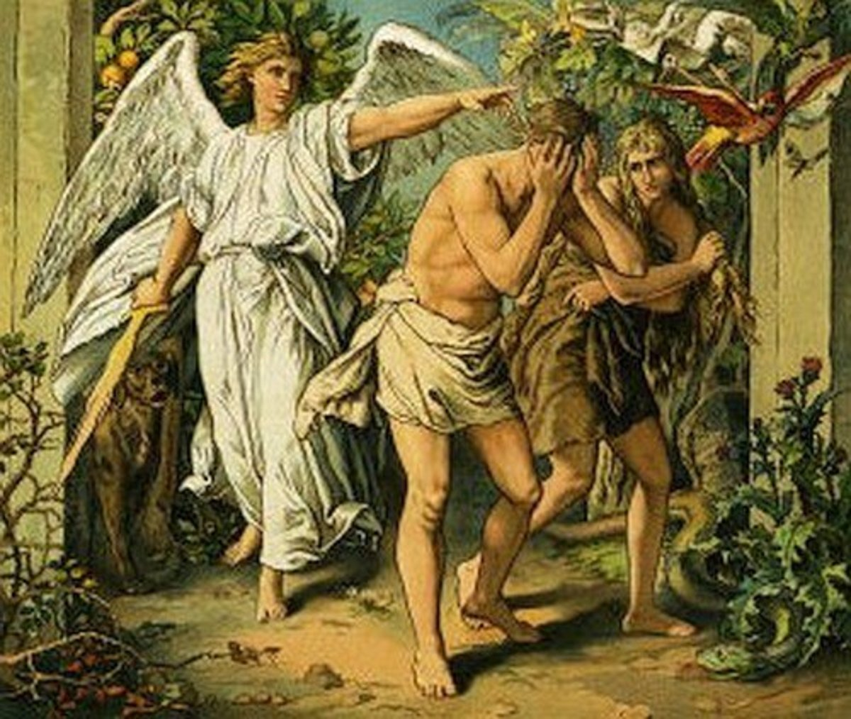 Adam and Eve being banished from the Garden of Eden.