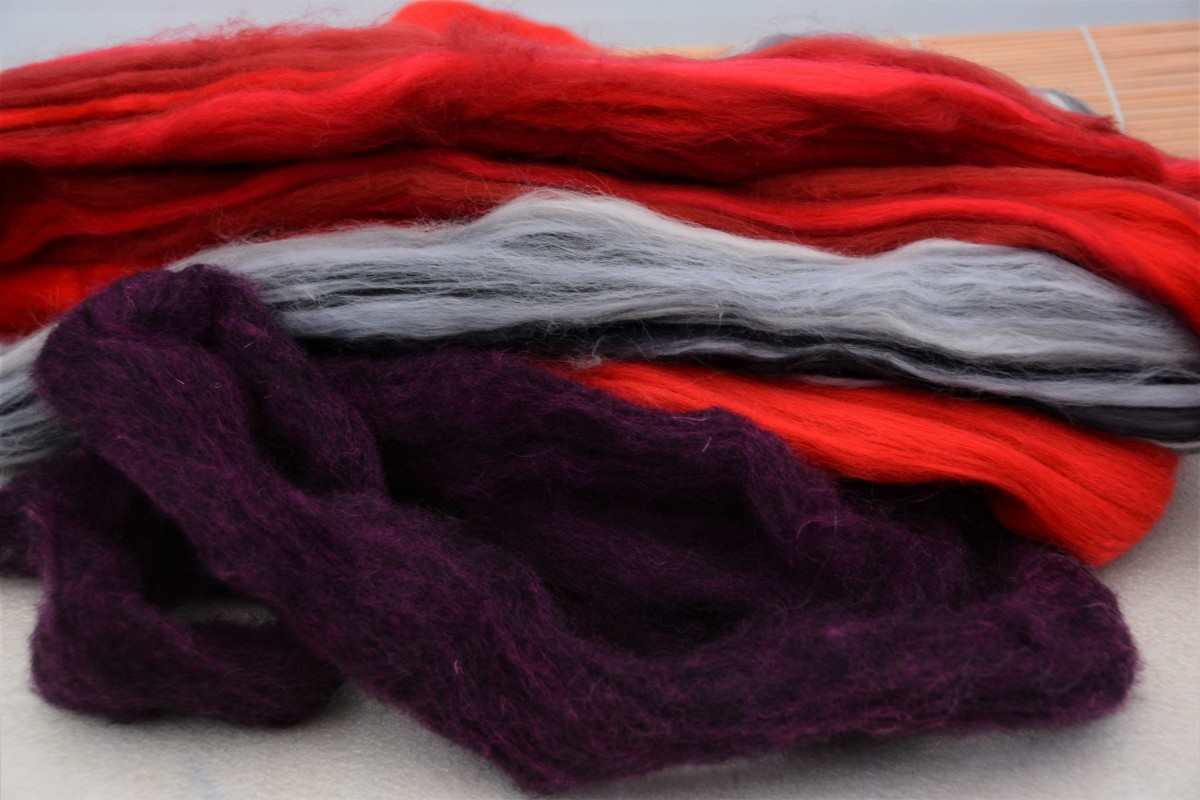Corriedale and Merino wool for wet felting.
