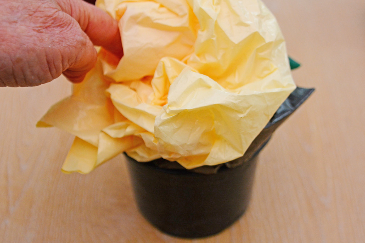 Firmly fill 1 black plastic plant pot with supermarket bags (recycled)