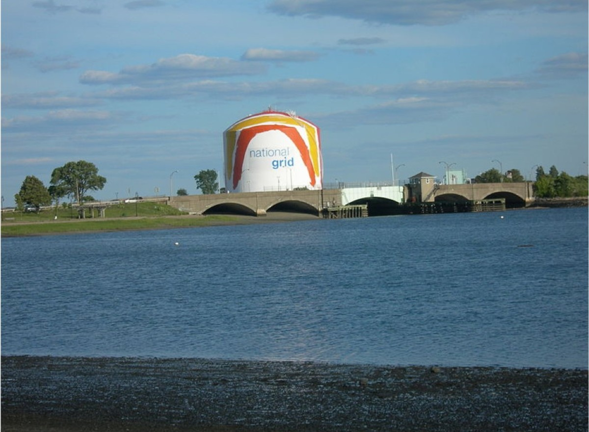 """The famous Boston Gas Tank with its """"Rainbow Swash"""" is 143 feet in height."""