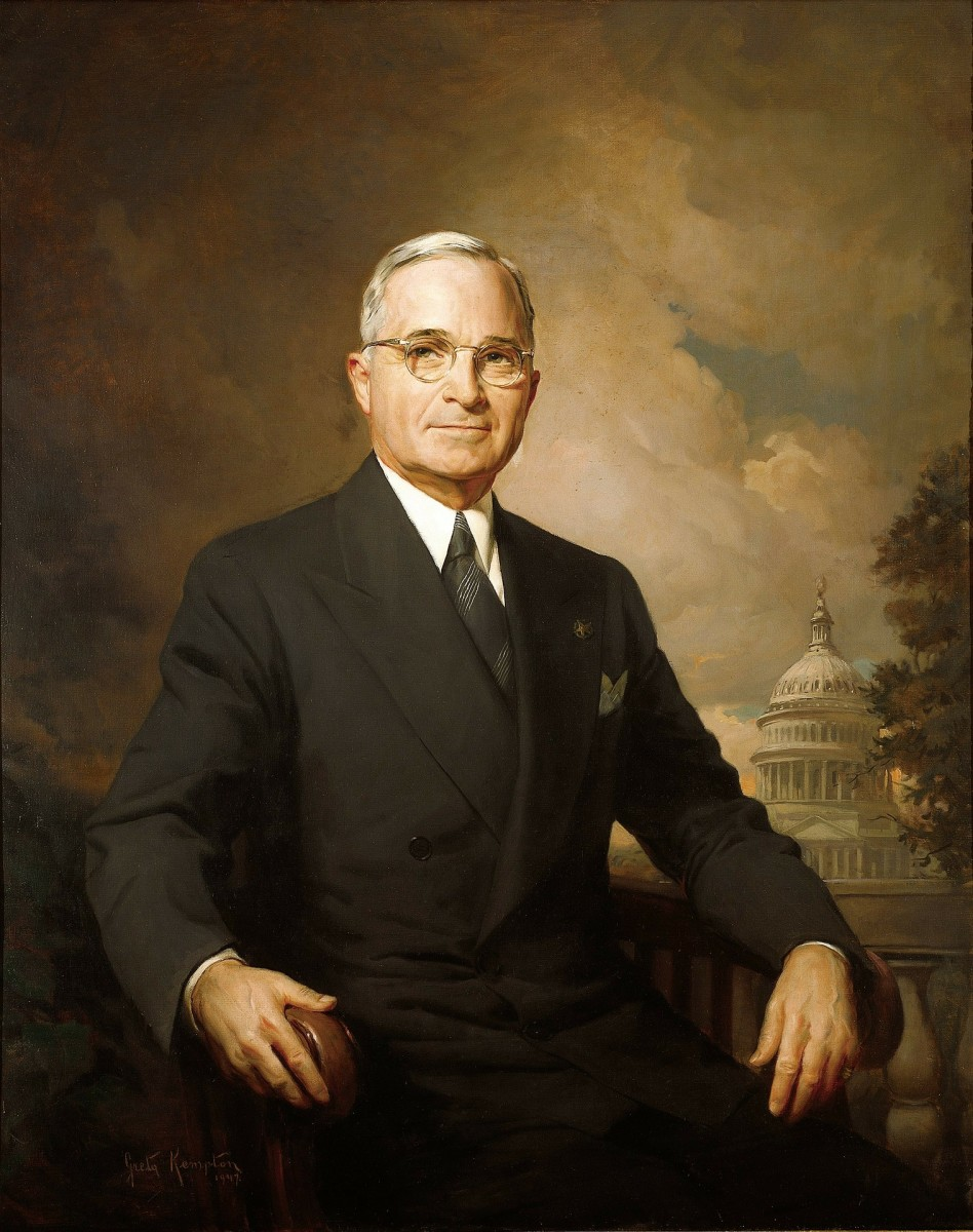 President Harry Truman (1884-1972), 33rd President of the United States.
