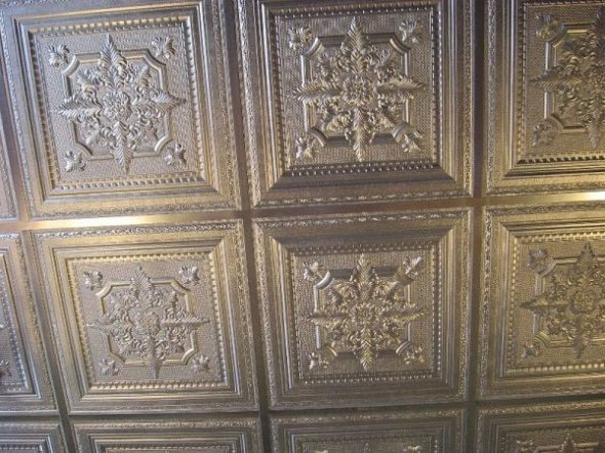 The bank has its original tin ceiling.