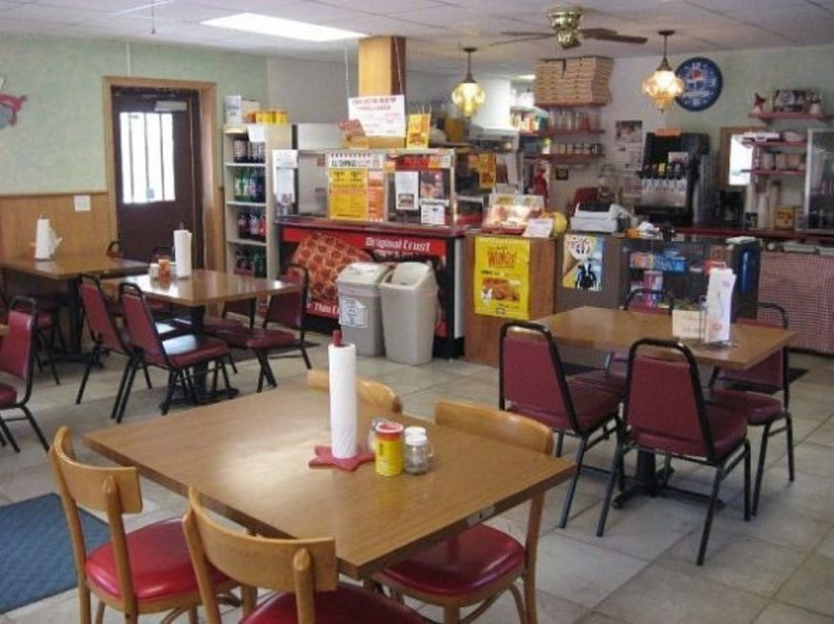 Interior of the pizza shop.