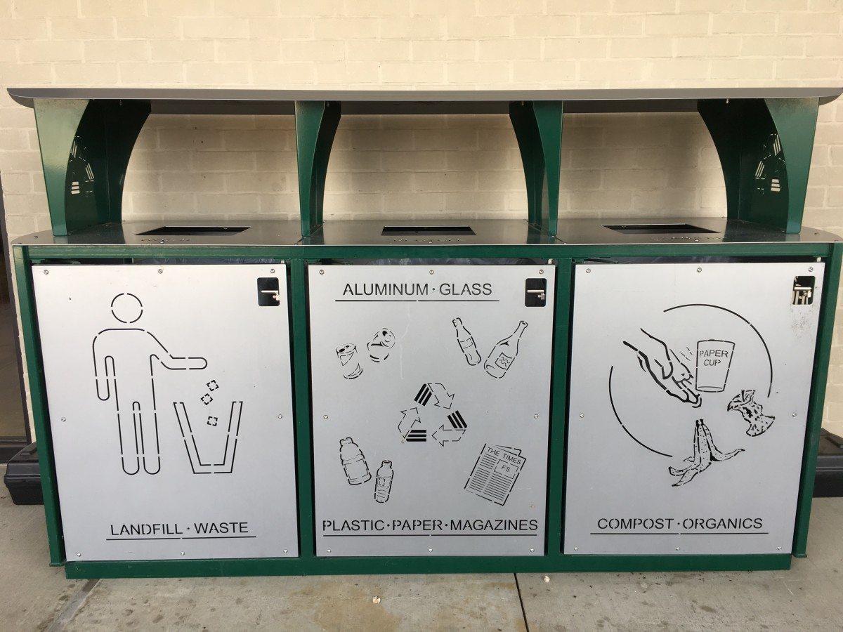 recycle bins outside of Whole Foods in Colleyville, TX
