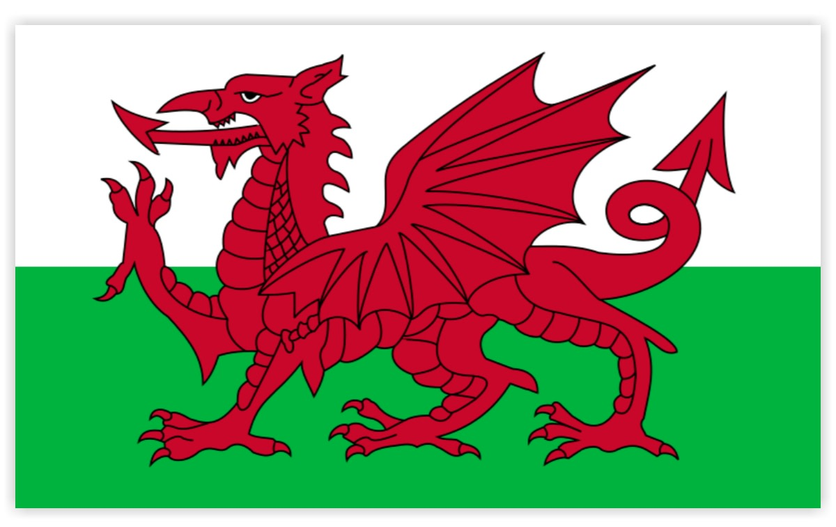 The banner of Wales that would like to add to the Union Jack.