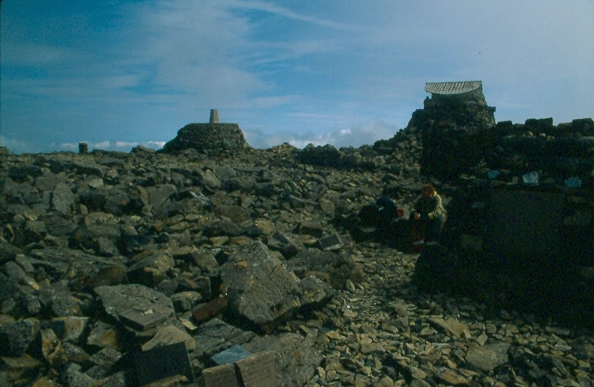 The ruins of the observatory on the summit of Ben Nevis.