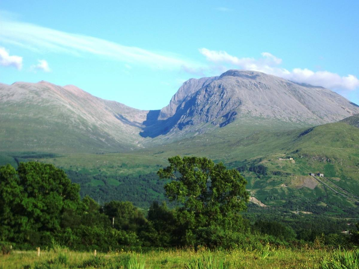 Classic view of Ben Nevis seen from Banavie. Photo courtesy of Wikipedia.