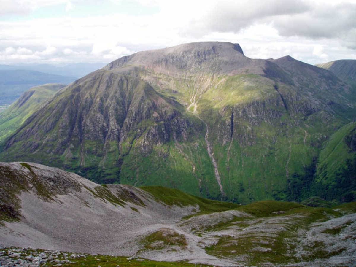 The south face of Ben Nevis. The tourist track follows the left skyline. Photo courtesy of Wikipedia.