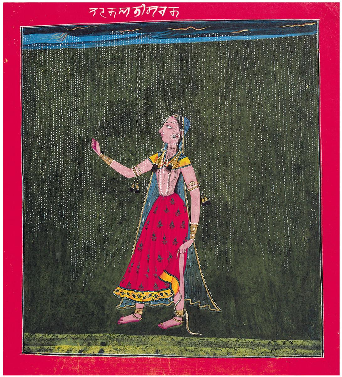 Abhisarika Nayika. Basohli style, perhaps at Mankot, ca. 1700, Collection Jagdish and Kamla Mittal Museum of Indian Art, Hyderabad