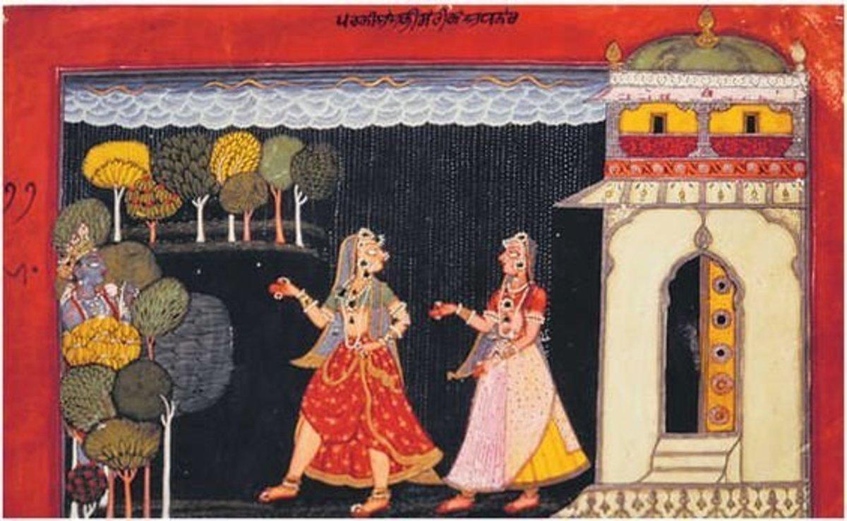 Abhisarika nayika, Rasamanjari , Basohli painting, Pahari style, 17th century