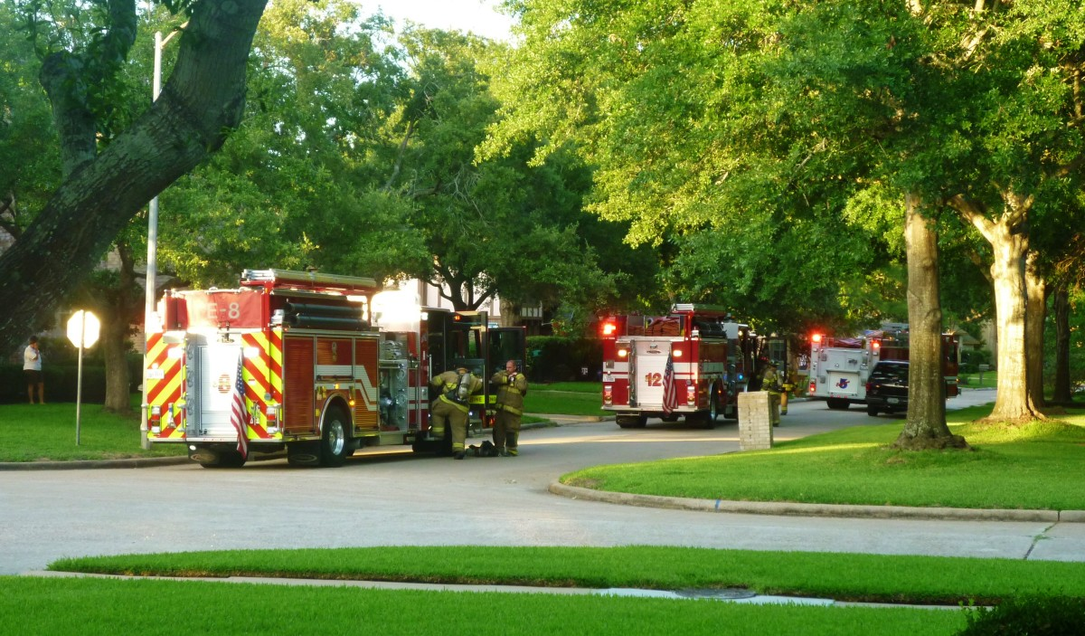 Firetrucks and volunteer firemen in our neighborhood