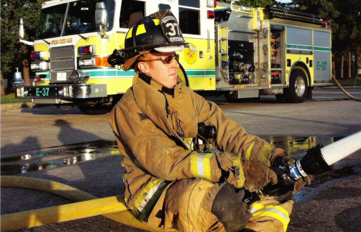 One brave young man serving as a volunteer fireman