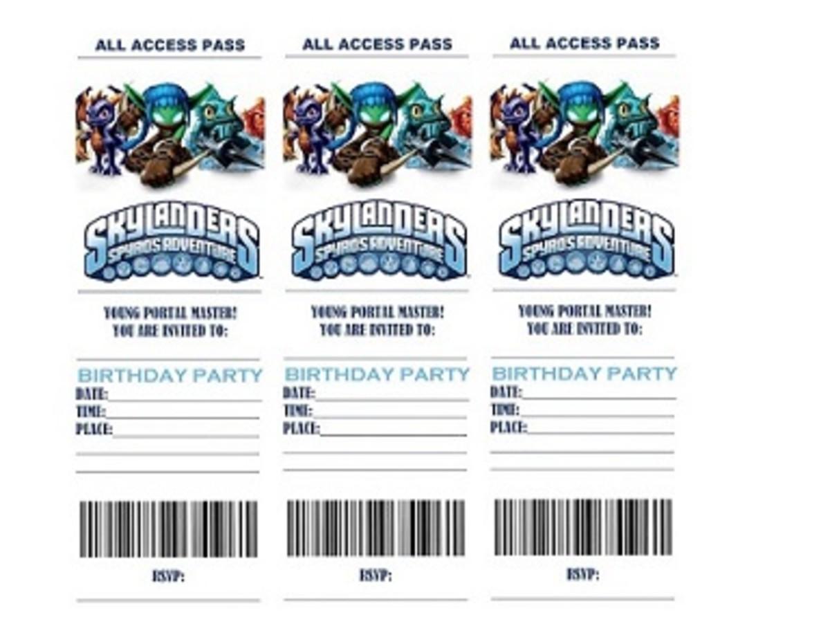 Printable Skylanders ticket invitations