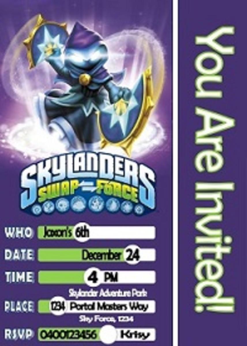 Personalized Skylanders Swap force invitations