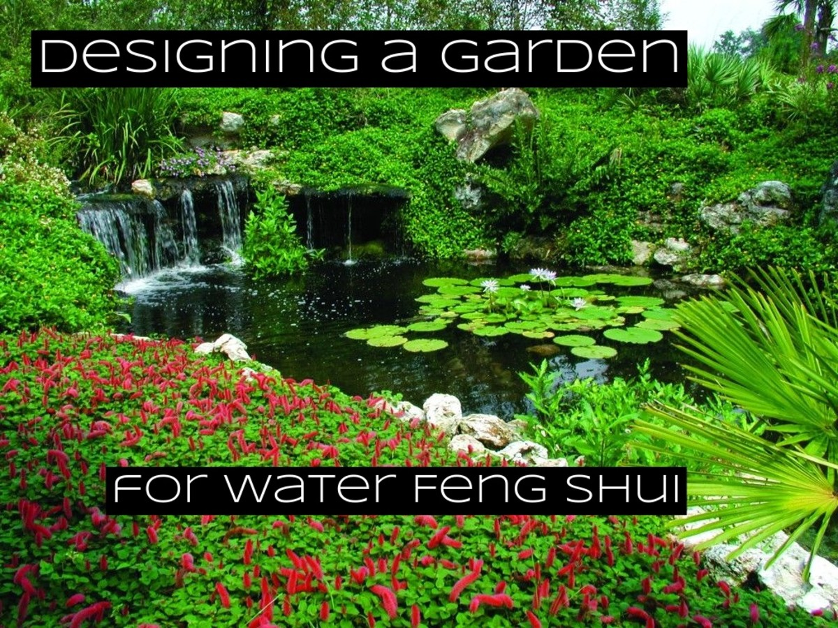 Water is an important component of feng shui. It is easy to incorporate water features into your garden, but you'll want to think carefully. Feng shui teaches that water flow and its direction is important.