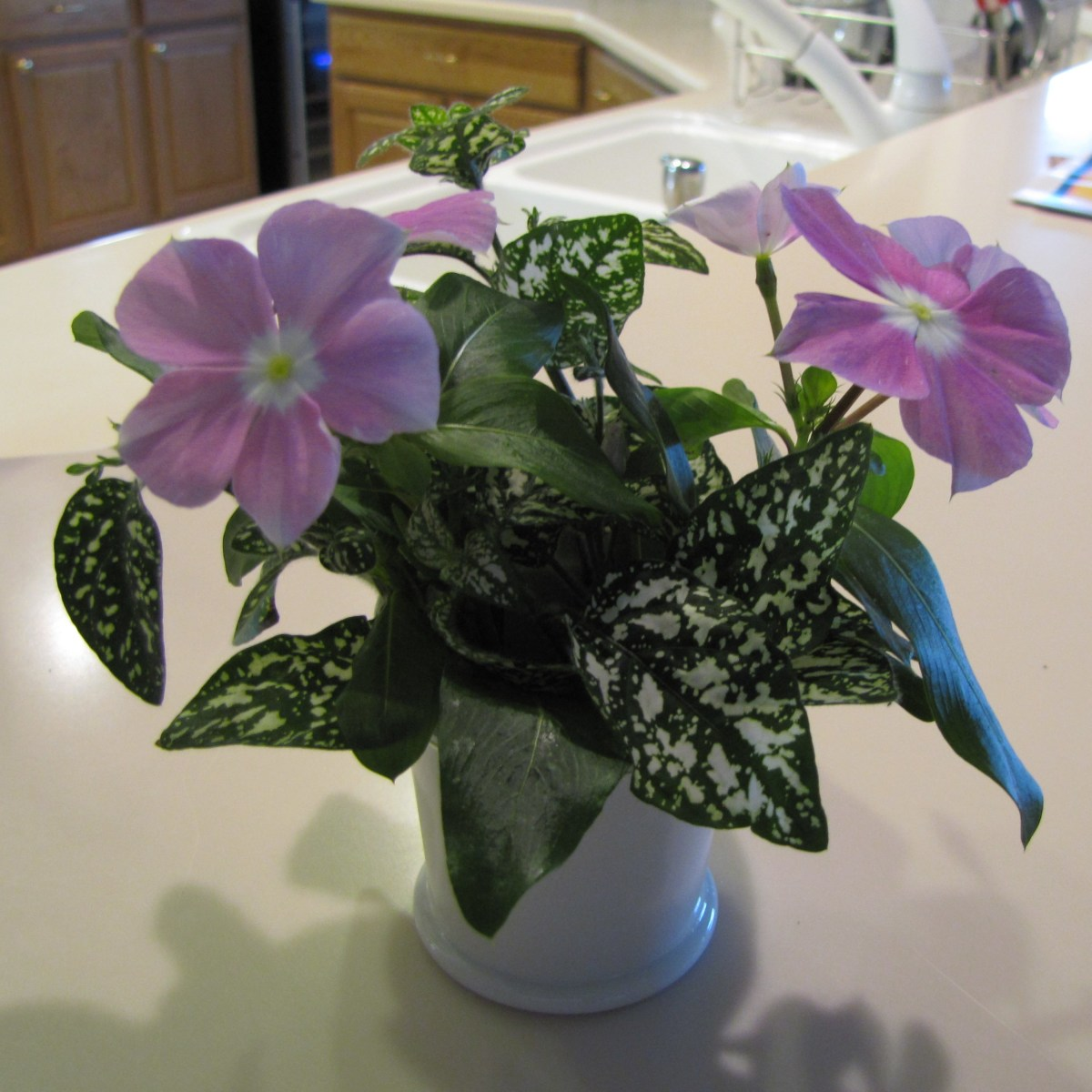 This uses a miniature cream pitcher with multi-colored leaves and several flower.