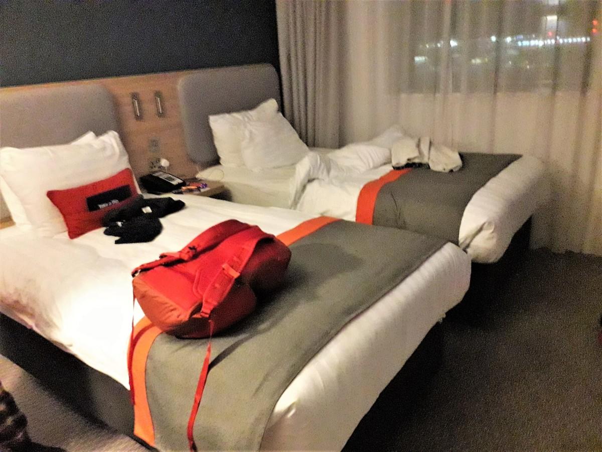 Twin room at Holiday Inn Express London Heathrow Terminal 4.