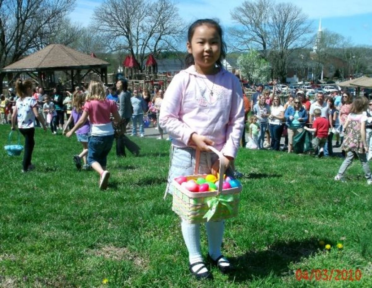 Easter eggs and picnic shelters