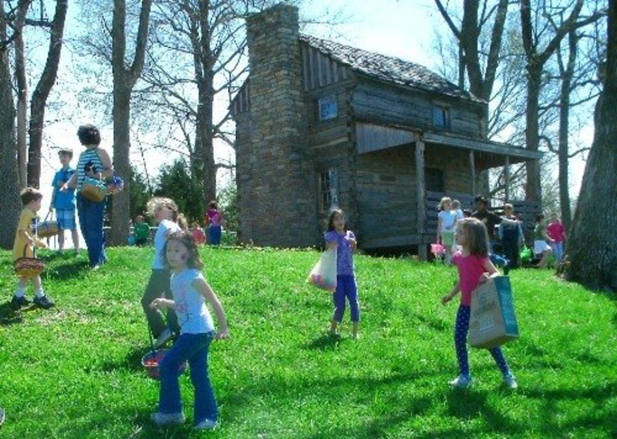 Easter egg hunt at the log cabin