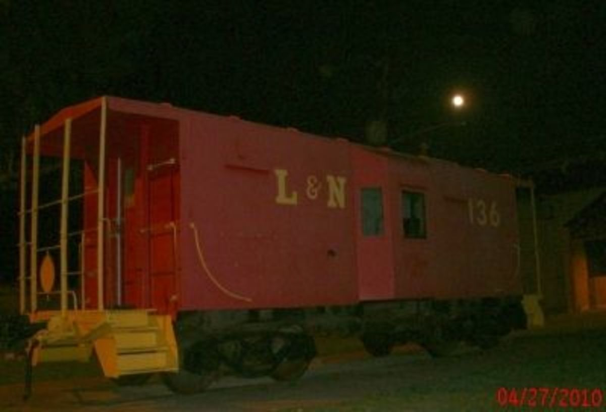 The Red Caboose at Night