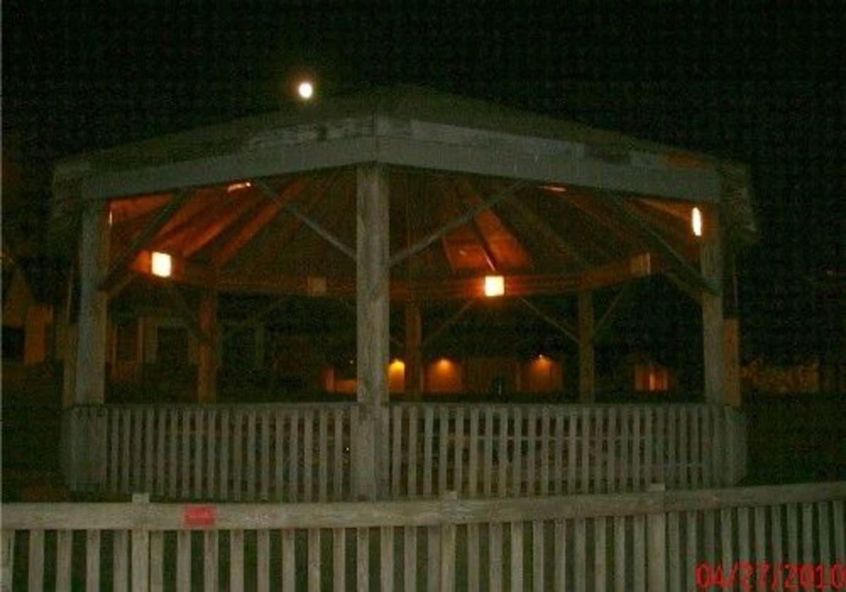 Picnic shelter gazebo by night