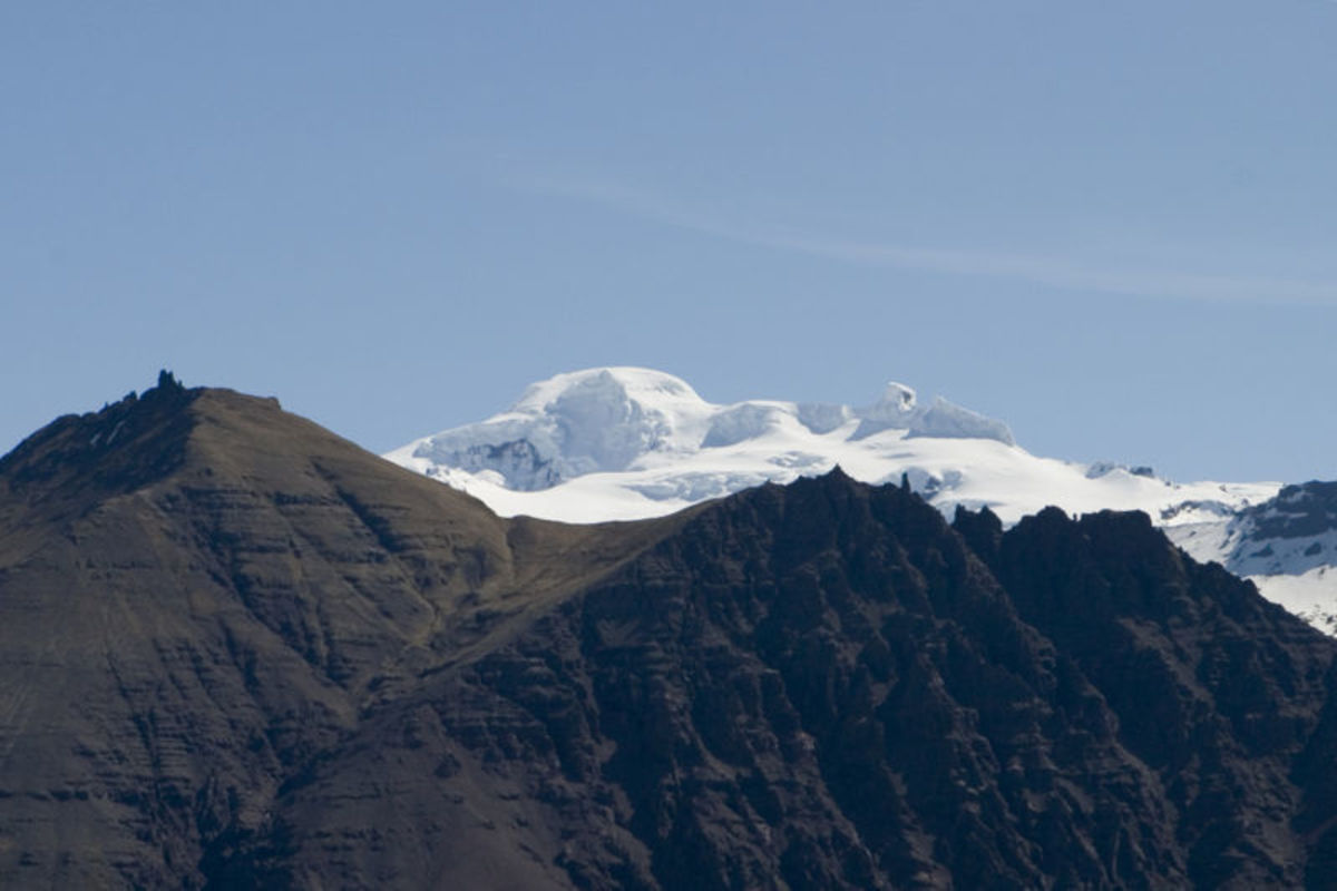 Oraefajokull, the highest peak in Iceland (snow capped in the distance)