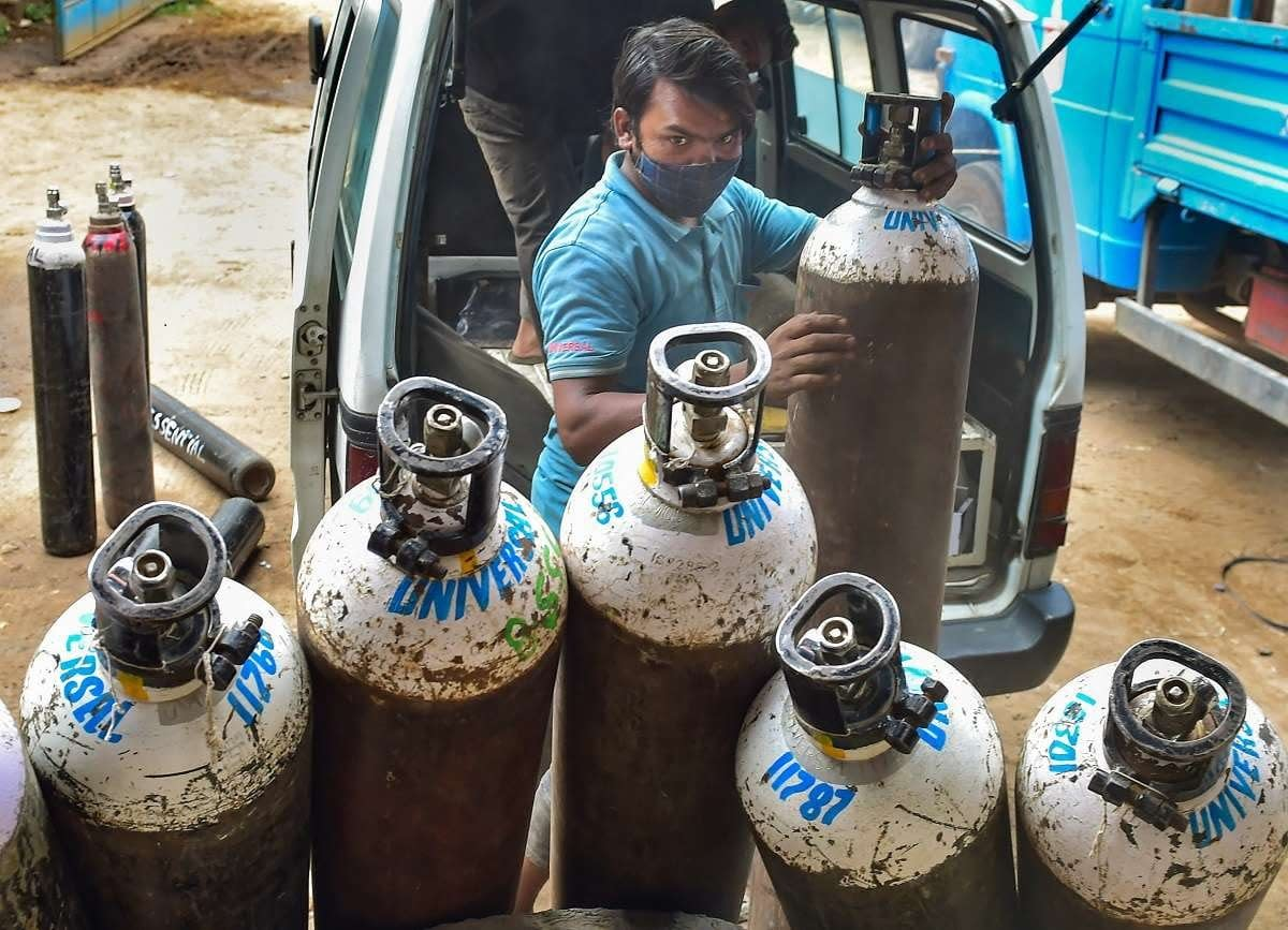 Delhi man arrested for black marketing of oxygen cylinders.