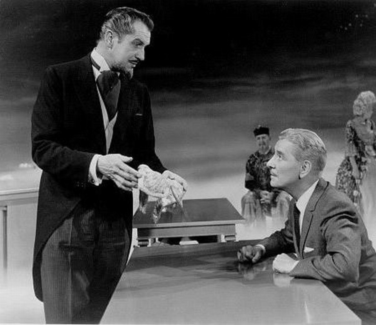 Vincent Price and Ronald Colman in The Story of Mankind (1957)