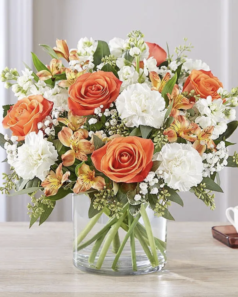 These are online beautiful bouquets with roses, carnations and baby's breath.