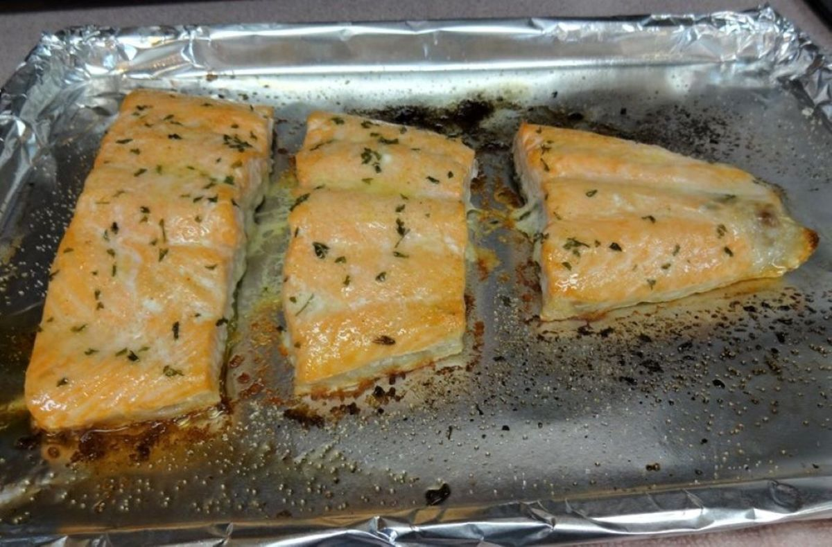 Salmon after 15 minutes in a 375-degree oven