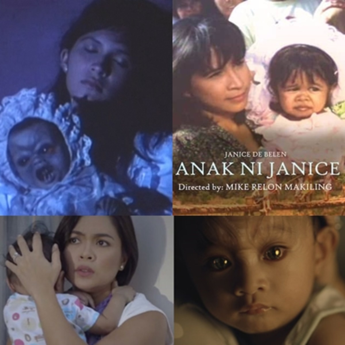 Famous Tiyanak in Filipino movies: Tiyanak 1988, followed by a parody comedy titled Anak ni Janice in 1991(The Child of Janice [de Belen], the same actress playing in the original), and the subsequent reboot Tiyanak 2014 that starred Judy Ann Santos.
