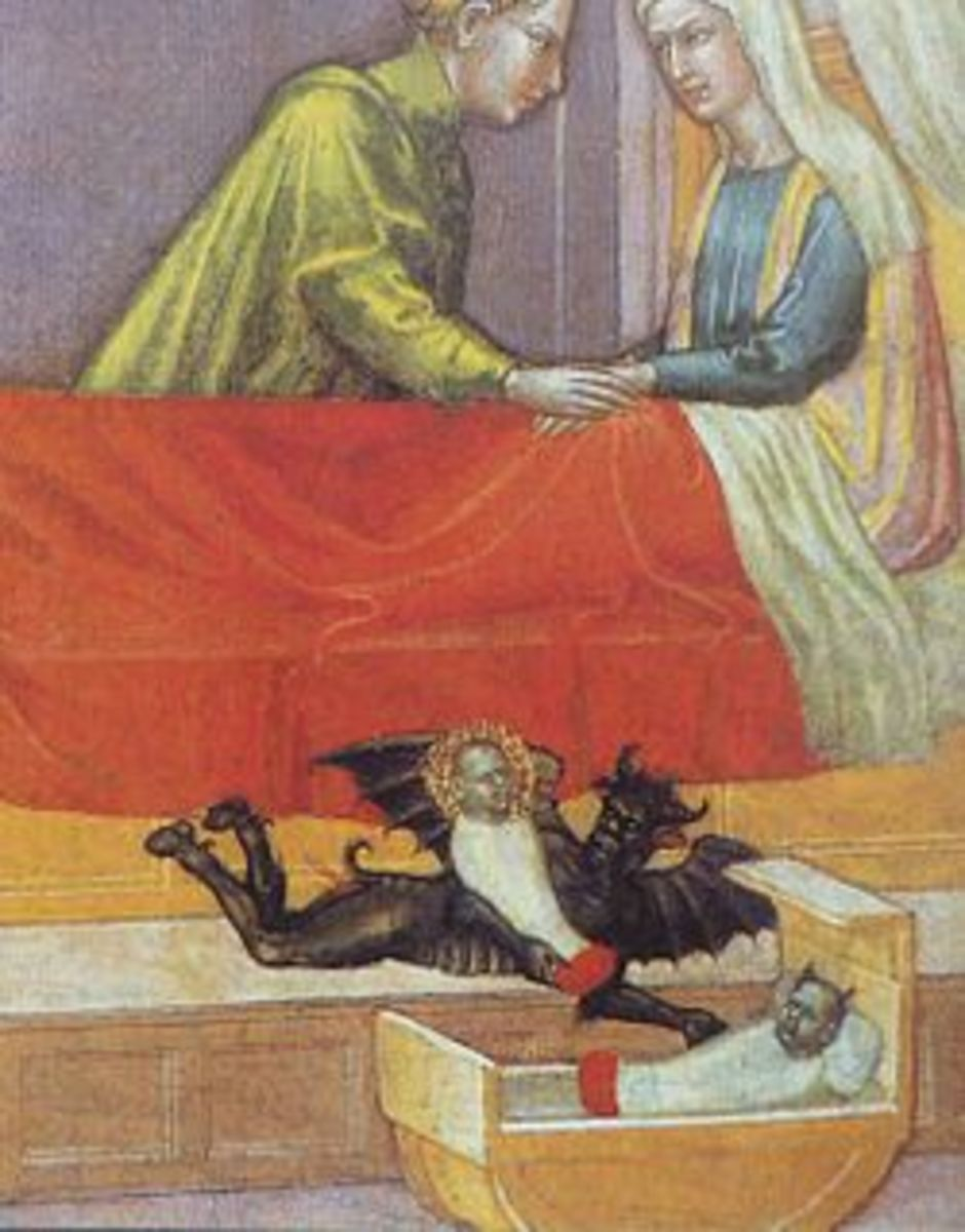 """The devil steals a baby, leaving a concealed Changeling. Early 15th  century, detail of """"The legend of St. Stephen"""" by Martino di Bartolomeo"""