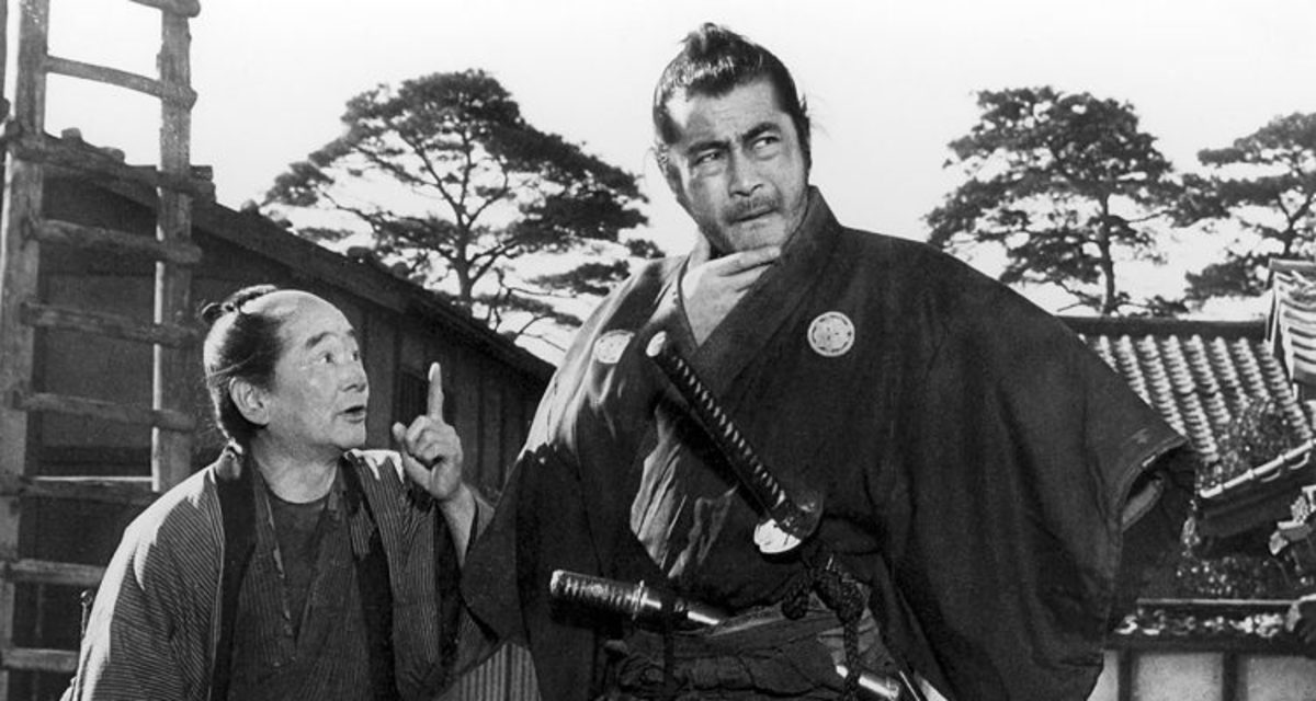 The great Toshiro Mifune (right) is both charismatic and deplorable as a hero but he sets the standard for all anti-hero films to follow.