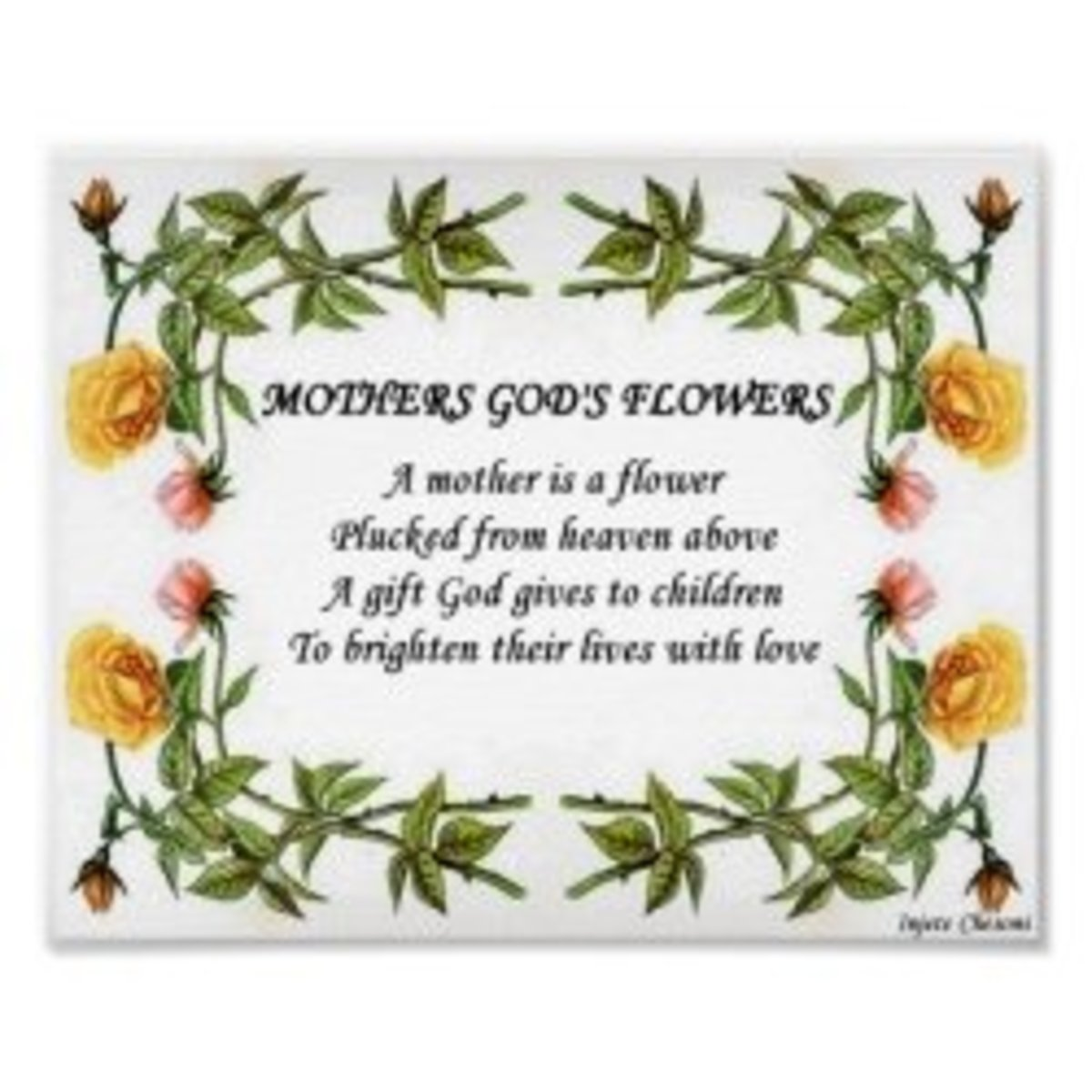 Mothers Gods Flowers Poster by Injete