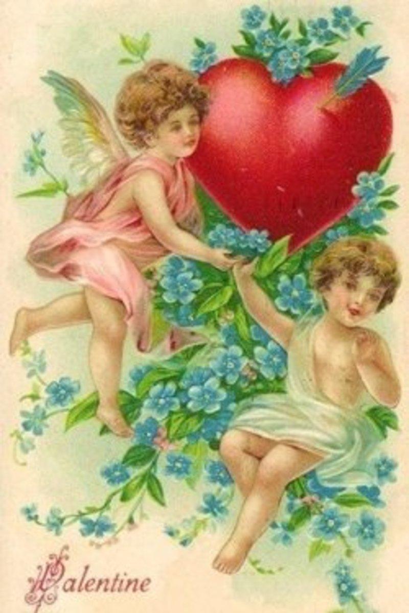 Wikimedia Victorian Valentines Cards Two Cherubs Blue Fowers Heart