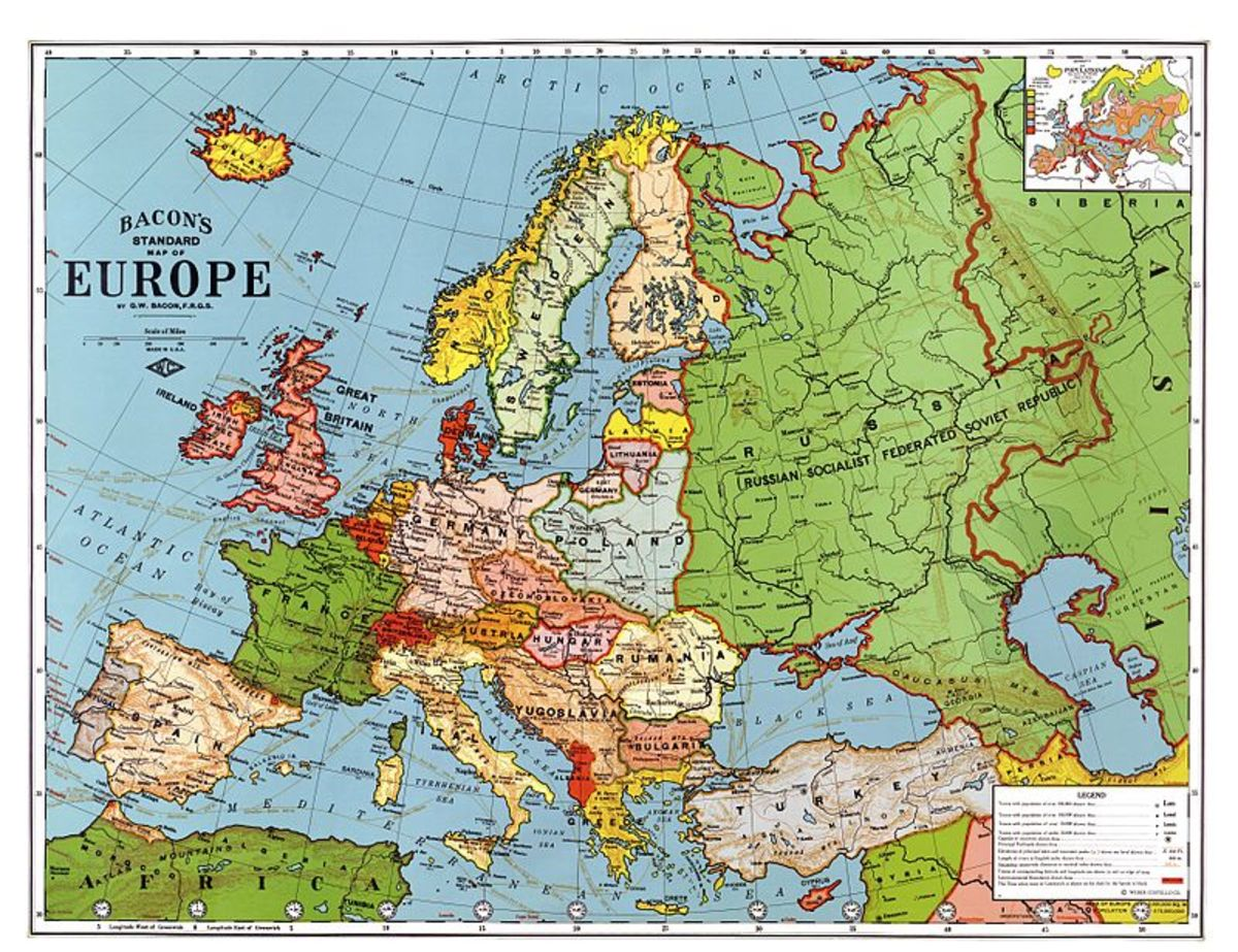 The map of Europe, once the post-WW1 order had been roughly established, nearly a decade after the fateful assassination of Franz Ferdinand