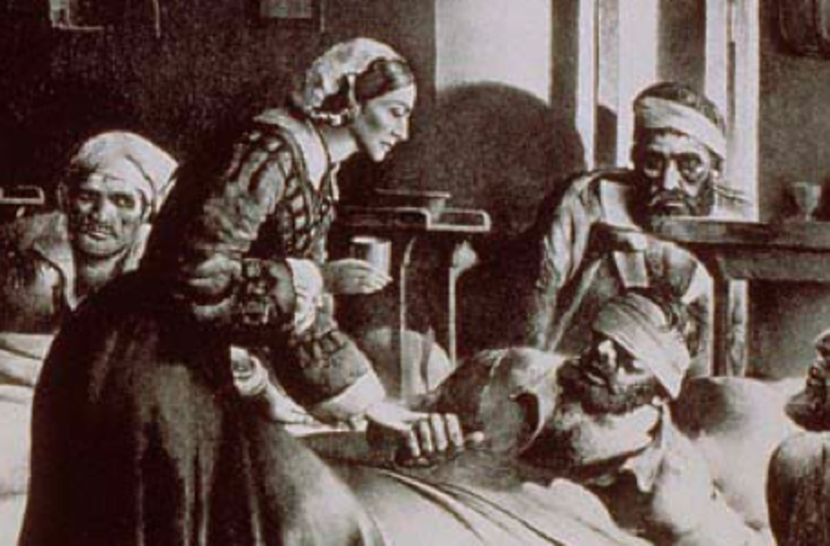 Artists Rendition of Florence Nightingale Nursing Sick Soldiers