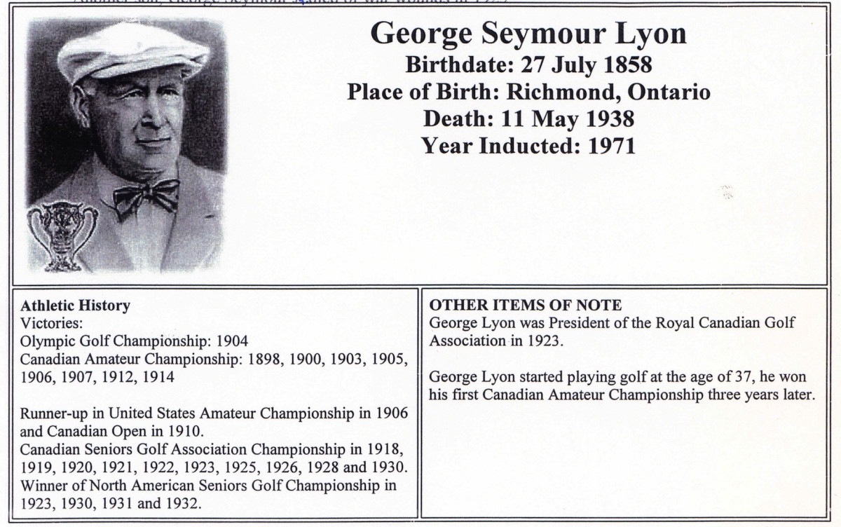 George Lyon, Golfer