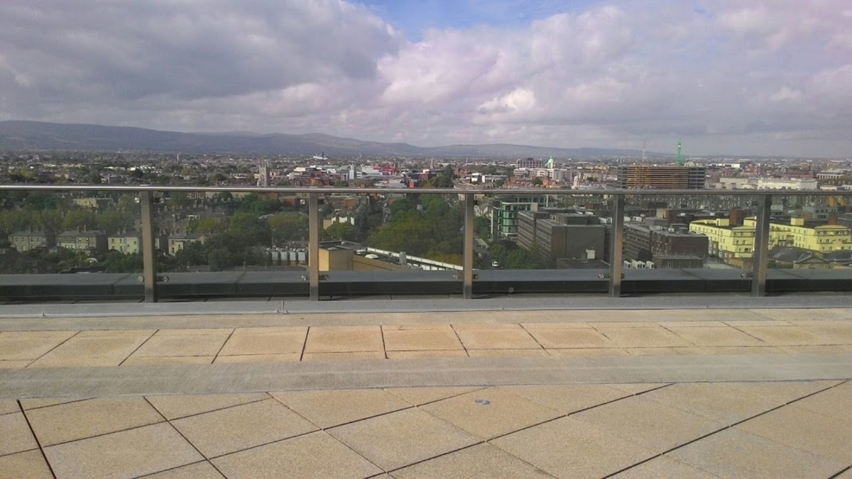 The beautiful panorama you can see from Google Dublin's offices (in particular, from one of the canteens at the main floor). Beautiful panoramas, music, nice furniture... Google headquarters are a very pleasant place!